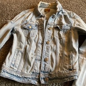 Light Wash American Eagle Ripped Denim Jacket